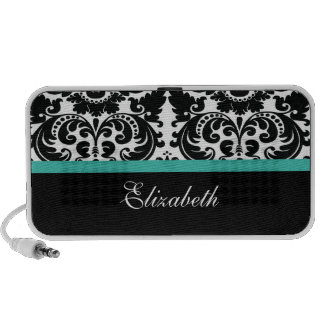 Turquoise Damask Doodle Speakers Personalize