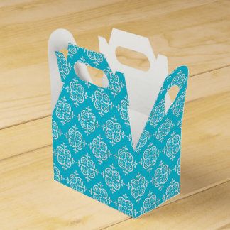 Turquoise Damask Favour Boxes
