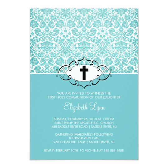 Turquoise Damask First Communion Inviation Card