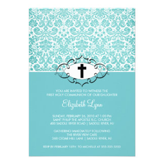 Turquoise Damask First Communion Inviation Invitation