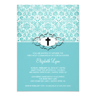"Turquoise Damask First Communion Inviation 5"" X 7"" Invitation Card"
