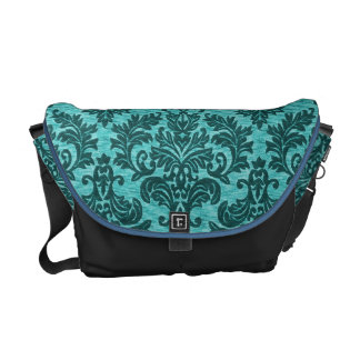 Turquoise Damask Courier Bags