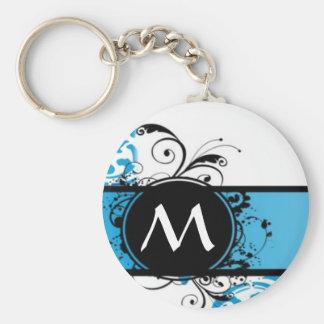Turquoise damask monogrammed basic round button key ring
