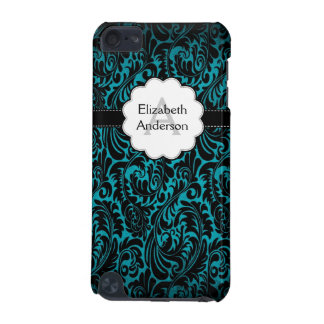 Turquoise Damask Monogrammed IPod Touch Case