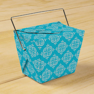 Turquoise Damask Party Favour Boxes