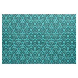 Turquoise Damask Pattern Fabric