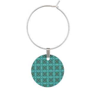 Turquoise damask pattern wine charm