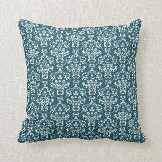 Turquoise Damask Pillow