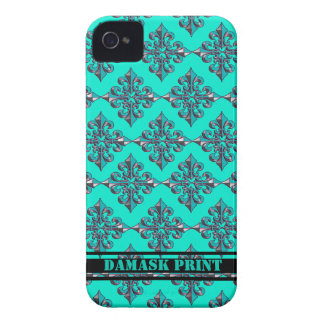 Turquoise Damask Print iPhone 4/4S Case