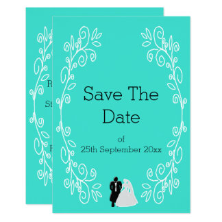 Turquoise Damask Save The Date Wedding Card