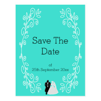 Turquoise Damask Save The Date Wedding Postcard