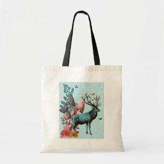 Turquoise Deer in Mushroom Forest 2 Budget Tote Bag