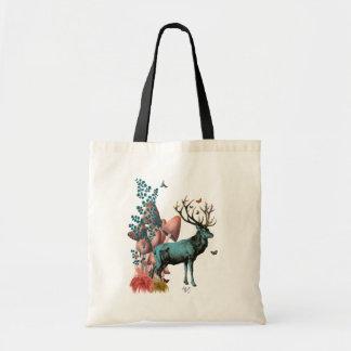 Turquoise Deer in Mushroom Forest Budget Tote Bag