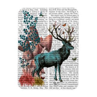 Turquoise Deer in Mushroom Forest Rectangular Photo Magnet
