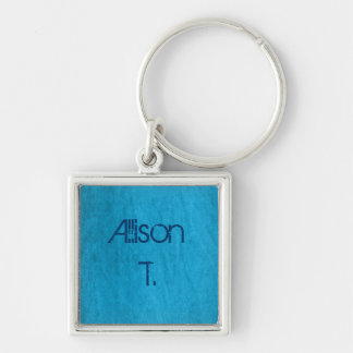 turquoise denim Silver-Colored square key ring