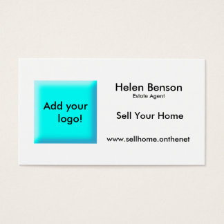 Turquoise design add logo black text business card