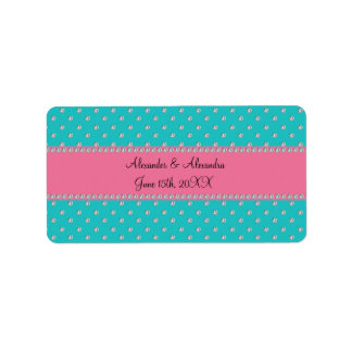 Turquoise diamonds wedding favors address label