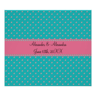 Turquoise diamonds wedding favors poster