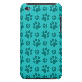 Turquoise dog paw print pattern iPod touch case