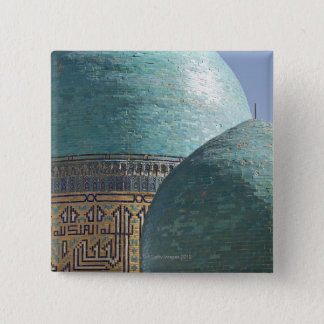 Turquoise domes, Shahr i Zindah mausoleum 15 Cm Square Badge