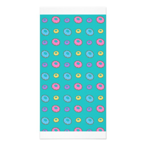 Turquoise donut pattern photo cards