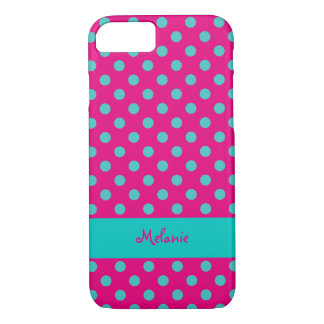 turquoise dots over rouge background with text iPhone 7 case