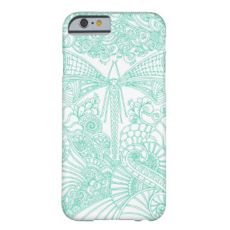 Turquoise Dragonfly doodle Barely There iPhone 6 Case