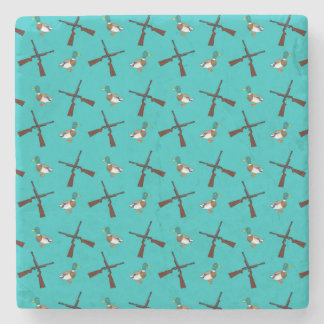 Turquoise duck hunting pattern stone beverage coaster