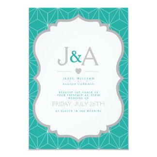 Turquoise elegance. 9 cm x 13 cm invitation card