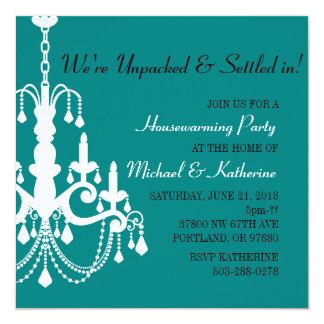 Turquoise Elegant Chandelier Housewarming Invite