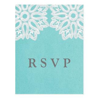 Turquoise Elegant Lace RSVP Postcard