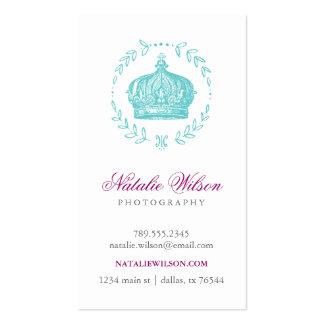Turquoise Elegant Vintage Crown Vertical Business Card Templates