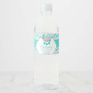Turquoise Elephant Baby Shower Water Bottle Label