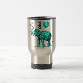 Turquoise elephant. Polka dot elephant. Cute. Travel Mug