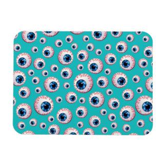 Turquoise eyeball pattern rectangle magnet