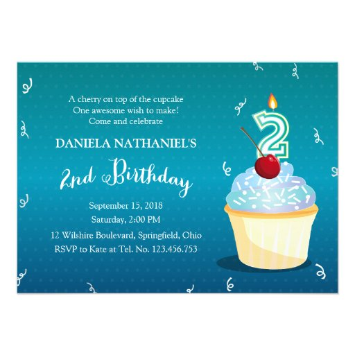 Turquoise Fab 2nd Birthday Party Cupcake Invitations