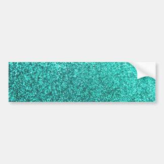 Turquoise faux glitter graphic bumper sticker