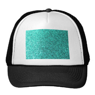 Turquoise faux glitter graphic cap