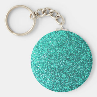 Turquoise faux glitter graphic key chain