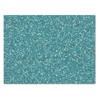 Turquoise Faux Glitter Tissue Paper