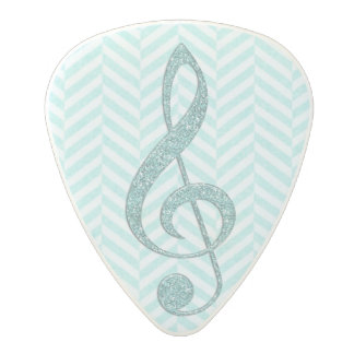 Turquoise Faux Glitter Treble Clef on Chevron Polycarbonate Guitar Pick