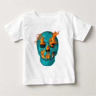 Turquoise Flaming Skullturq Baby T-Shirt