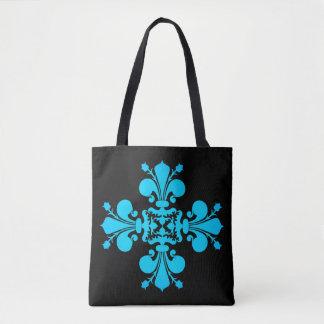 Turquoise fleur de lis cross tote bag