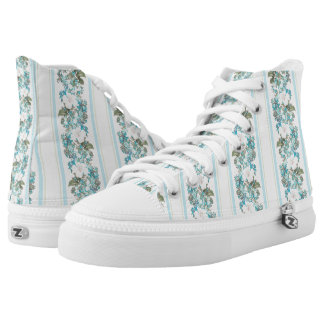 Turquoise floral canvas sneakers Blue canvas shoes