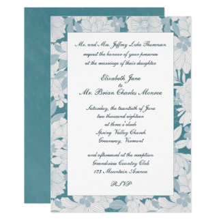 Turquoise Floral Formal Wedding Invitation