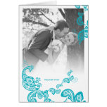 Turquoise Floral Paisley Peacock Wedding Thank You Note Card