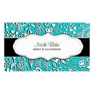 Turquoise Floral pattern Doodle business cards