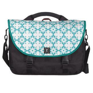 Turquoise Floral Pattern Laptop Messenger Bag