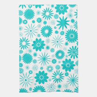 Turquoise Floral Pattern Tea Towel