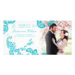 Turquoise Floral Peacock Chic Wedding Thank You Customised Photo Card